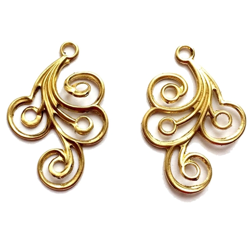 brass filigree, ear drops,jewelry making,raw brass