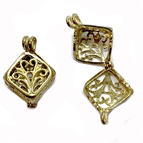 Perfume locket,  cast brass, hinged filigree lockets, cube style pendants, vintage jewelry supplies, raw brass, 12 x 12mm, jewelry making supplies, brass filigree, cubed filigrees, 02422, unplated brass, top hanging, bail, old jewelry parts, brass trinket