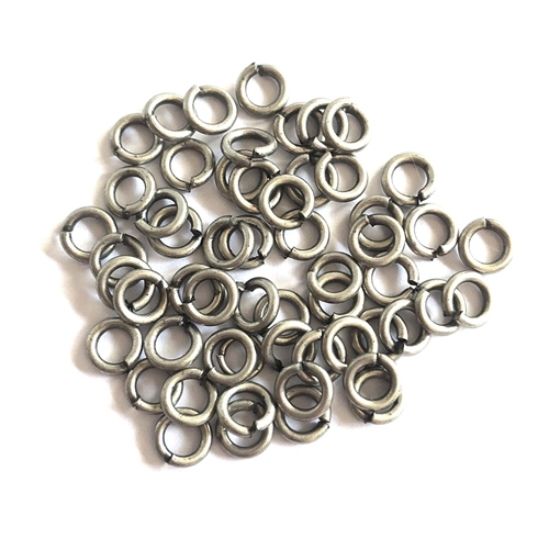 Anitque Silver Jump rings, Jump Rings, Jumps, 4mm, 18 Gauge, Anitque Silver, Silver, 50 pieces, Silverware Silver Plate, Brass Stamping, Rings, Us Made, Nickel Free, B'sue Boutiques, Jewelry Findings, Vintage Supplies, Jewelry Supplies, 03513