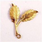 double leaf sprig, pendant style, raw brass, 31 x 25mm, right facing, pendent, sprig, leaf, brass stamping, unplated brass, brass leaves, leaf stamping, us made, nickel free, b'sue boutiques, jewelry findings, vintage supplies, jewelry supplies, 03381