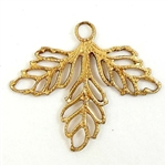 filigree leaves, jewelry making, raw brass, 22 x 25mm
