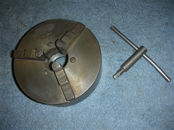 FINE USED  USA 5 INCH 3 JAW CHUCK+KEY ATLAS CRAFTSMAN LATHES 1 1/2-8