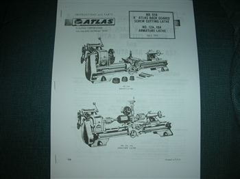 ATLAS CRAFTSMAN 612 AND 618 MODEL 6 INCH LATHE OWNERS MANUAL AND PARTS LIST