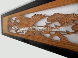 Japanese Handcarved Wood Transom, Ranma with Crane