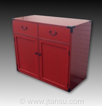 Japanese Style Red Lacquer Night Stand or Side Table