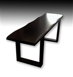 Japanese Hardwood Bench, Black Lacquer