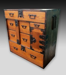 Japanese Wood and Lacquer Isho Clothing Tansu with Lock Bar