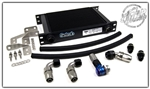 MAP Oil Cooler Kit w/ Setrab 25 Row Oil Cooler Black Braided Lightweight Mitsubishi Evo 8 & 9 MAP EVO-OCK-LW