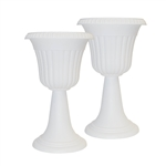 ALEKO 2PP300AHWH Tall White Plastic Garden Plant Urn, Lot of 2