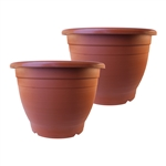 ALEKO  2PP450TC Terra Cotta Thermoformed Planters Plastic Garden Pots, Lot of 2