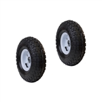 ALEKO 2WAP10 Pneumatic Replacement Wheels for Wheelbarrow 10 Inch Air FIlled Turf Tires for Hand Trucks and Lawn Carts, Set of 2, Black Tire White Rim