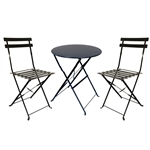 ALEKO BSET3BK Bistro Patio Furniture Set 3 Piece Table and Chairs Set, Black Finish