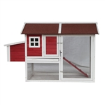Barn Style Wooden Chicken Coop - 67 x 32 x 43 Inches - Red with White Trim