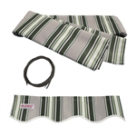 ALEKO Awning Fabric Replacement for 12x10 Ft Retractable Patio Awning, MULTI STRIPE GREEN