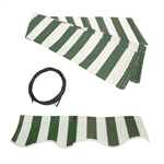 ALEKO Awning Fabric Replacement for 20x10 Ft Retractable Patio Awning, GREEN and WHITE STRIPES