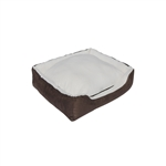 ALEKO®LBD1502S  26X25X6 Inches Soft Plush Pet Cushion Crate Bed With Removable Insert Pillow, White With Brown