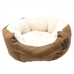 ALEKO® PB02S Small  Soft Plush Beige Pet Cushion Crate Bed With Removable Insert Pillow
