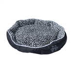 ALEKO® PB05L Large Soft Plush Pet Cushion Crate Bed With Removable Insert Pillow, Black and White Leopard Print