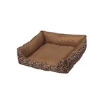 ALEKO PDBOS1 Leopard Print Square Pet Bed 20X20X5 Inches