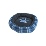 ALEKO PDBOS3 Blue Plaid Polar Fleece Round Soft Cushion Crate Pet Bed 20X19X5 Inches