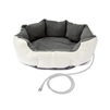 ALEKO® PHBED17S Soft White Gray Heated Padded Pet Bed 19 X 19 X 7 Inches (48 X 48 X 18 cm)