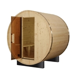 ALEKO SB4PINE 4 Person Outdoor and Indoor White Pine Wood Barrel Sauna with ETL Electrical Heater