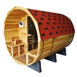 Pine Wood Barrel Sauna with Transparent Wall for 7 People