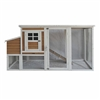 SBS011YW Wooden Rabbits, Chickens, Hen Coop Cage 77.9 X 29.5 X 40.5 Inches (2 X 0.75 X 1 m), Yellow and White