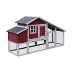 SBS019RW Wooden Rabbits, Chickens, Hen Coop Cage 80.3 X 29.5 X 45.7 Inches (2 X 0.75 X 1.2 m), Red and White