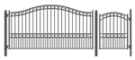 Set of ALEKO® PARIS Style Steel Swing Single Driveway 3.7 m with Pedestrian Gate 1.2 m