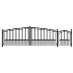 Set of ALEKO® PARIS Style Steel Swing Dual Driveway 18 ft with Pedestrian Gate 4 ft
