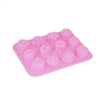 ALEKO SFC03 Heat Resistant Non Stick Silicone Various Shapes Mini Cupcakes 12 Mold Tray, Pink