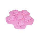 ALEKO SFC04 Heat Resistant Non Stick Silicone Mold Tray 6 Cavities Cartoon Characters for Chocolate Candies Cupcakes Muffins, Pink