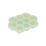 ALEKO SHT10GR Heat Resistant Non Stick Silicone 10 Holes Baby Food or Ice Cube Tray Multipurpose Storage Container, Green