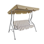 ALEKO SWC02SD Outdoor Canopy Porch Swing Patio Bench Garden Swing Chair with Swing Top Cover, Sand