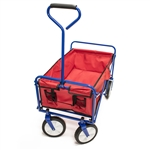 Multipurpose Folding Utility Wagon - Padded Handle - Red with Blue Frame - 150 Pounds - ALEKO