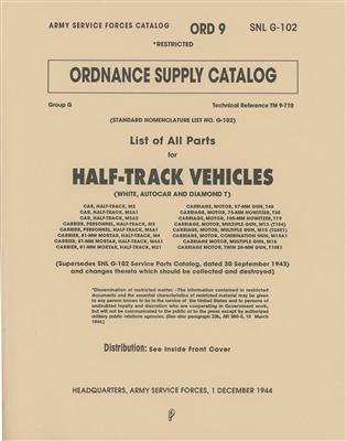 Complete Illustrated Parts for G102 Halftrack built by White, Autocar, Diamond T.  (430 pages)