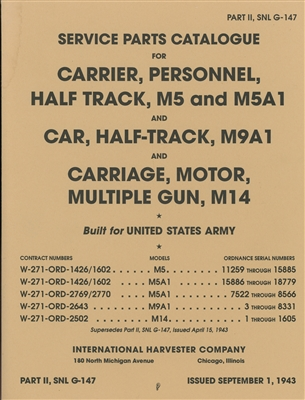 ORD 9 G147 Illustrated Parts for International Half-Track, M5, M5A1, M9A1 & M14 (G147)
