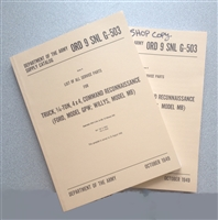 ORD 9 G503 Illustrated Parts Manual MB/GPW (1949) - Mechanic's Special (2nd Copy for $6))