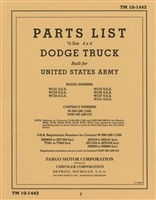 TM 10-1442 Parts Manual Dodge 1/2 Ton WC of WW2
