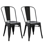 Fine Mod Imports Tolix Marais Dining Chair Set of 2 in Black