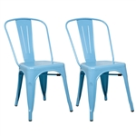 Fine Mod Imports Tolix Marais Dining Chair Set of 2 in Sky Blue
