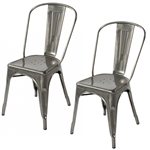 Fine Mod Imports Tolix Marais Dining Chair Set of 2 in Gunmetal