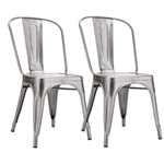 Fine Mod Imports Tolix Marais Dining Chair Set of 2 in Silver
