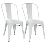 Fine Mod Imports Tolix Marais Dining Chair Set of 2 in White