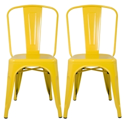 Fine Mod Imports Tolix Marais Dining Chair Set of 2 in Yellow