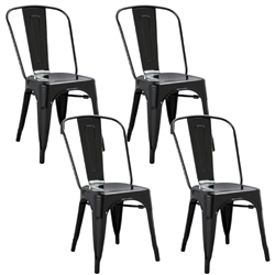 Fine Mod Imports Tolix Marais Dining Chair Set of 4 in Black