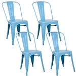 Fine Mod Imports Tolix Marais Dining Chair Set of 4 in Sky Blue