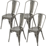 Fine Mod Imports Tolix Marais Dining Chair Set of 4 in Gunmetal