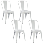 Fine Mod Imports Tolix Marais Dining Chair Set of 4 in White